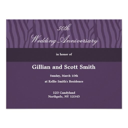 Purple 50th Wedding Anniversary Invitation