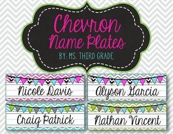 Editable Chevron Name Plates- Pink, Teal, Gray & Green