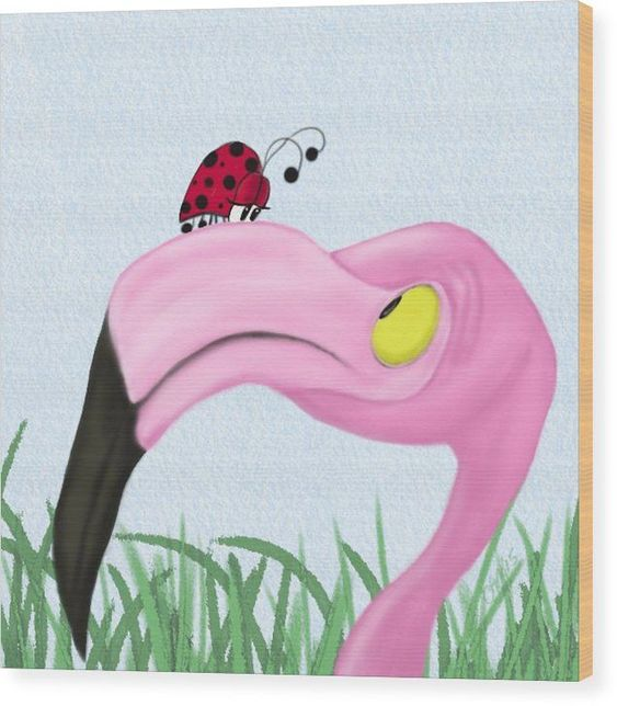 Flamingo Wood Print Featuring The Digital Art Fiona The Flamingo And Her Visitor By Michelle Brenmark Click T Flamingo Art Flamingo Artwork Flamingo Painting