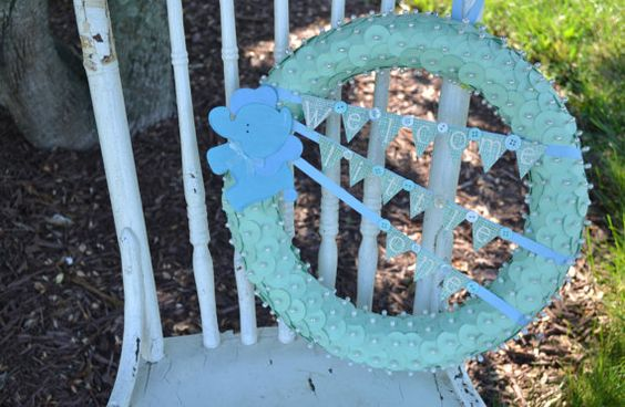 Welcome Little One handmade green baby wreath by ShuhpuppyAndDeppy, $30.00
