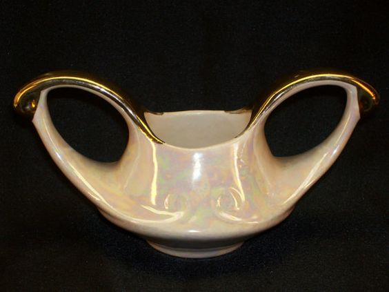 Pearl China Company Iridescent ceramic Gold Gilt Shell Sugar Bowl by GarageSaleGlass, $15.99