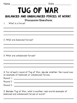 Newton S Laws Tug Of War Activity Balanced And Unbalanced Forces Force Activities Tug Of War Force