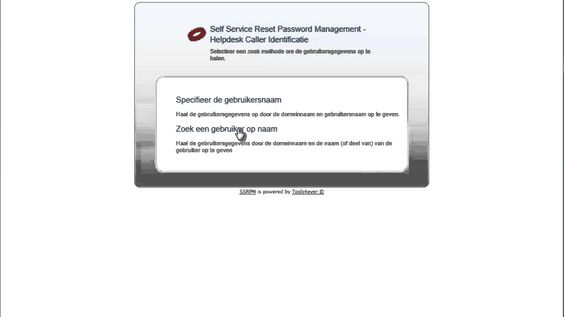 SSRPM: Self Service Reset Password - Eenvoudig identiteit beller vastste...