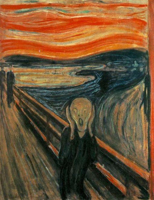 El Grito.  Siguiendo el estilo de Van Gogh, El Grito trata de reflejar sentimientos, sentimientos de ansiedad, de desesperación.