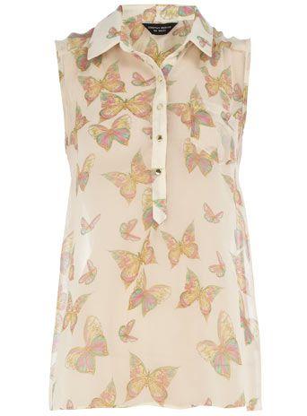 Butterfly dip hem blouse