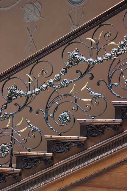 Wrought-iron balustrade with ears of corn on the staircase at Claydon House, c.1760