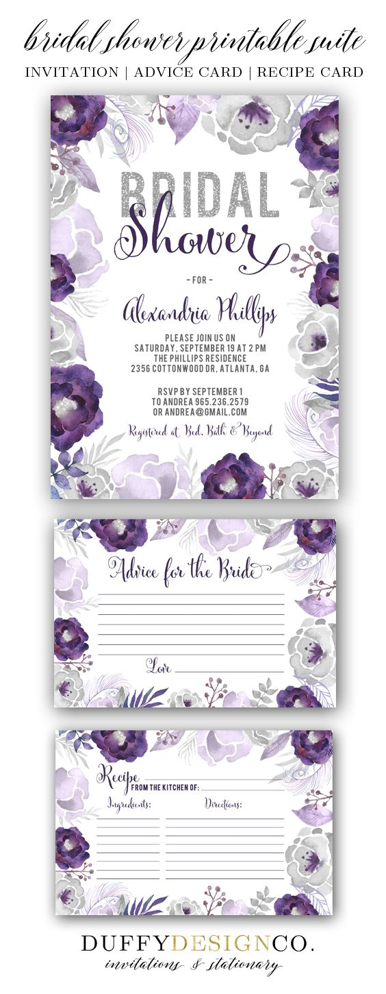 Bridal Shower Invite, Bridal Advice Card, Recipe Card, Advice for the Bride Card, Recipe for the Bride, Printable Invitation & Card Suite, Purple & gray watercolor floral invitation suite by Duffy Design Co