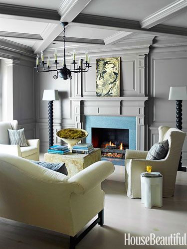 Fireplace in the study. Design: Kay Douglass. housebeautiful.com.
