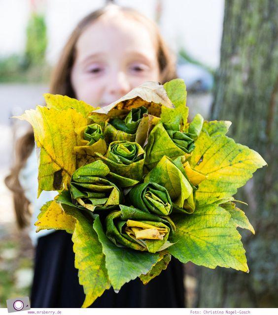 Herbst DIY - Blumenstrauß aus Blättern basteln
