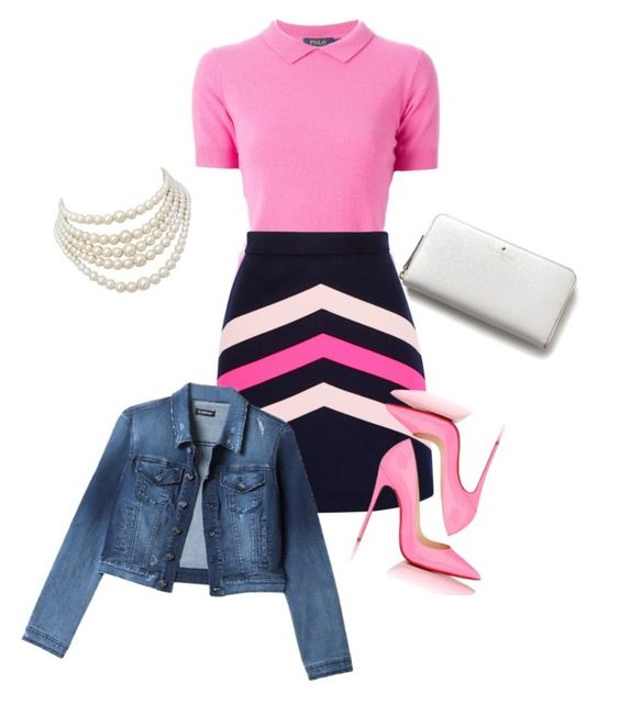 """""""Pink!!"""" by torygirl3 ❤ liked on Polyvore featuring Polo Ralph Lauren, MSGM, Kate Spade, Bebe, Christian Louboutin and Christian Dior"""
