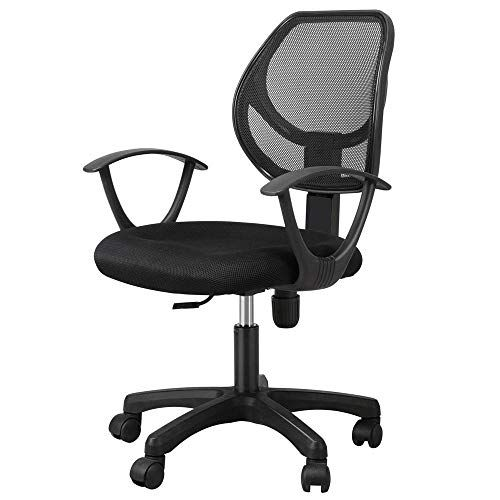 Yaheetech Black Swivel Office Chair Mesh Back Adjustable Seat Cushion Computer Chair Home Office Chair Lumbar Support Swivel Office Chair Home Office Chairs