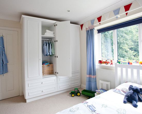 Pleasurable Designs For Built In Wardrobes Inspirations Minimalist Kids Bedroom With White Cupboard Also Blue Curt