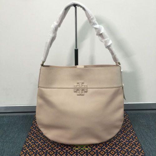 592d36d98322 NWT Tory Burch T Stacked Hobo Light Oak Women s Shoulder Bag