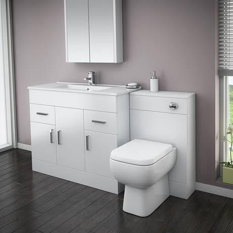 Turin High Gloss White Vanity Unit Bathroom Suite W1500 X D400 200mm House Furniture