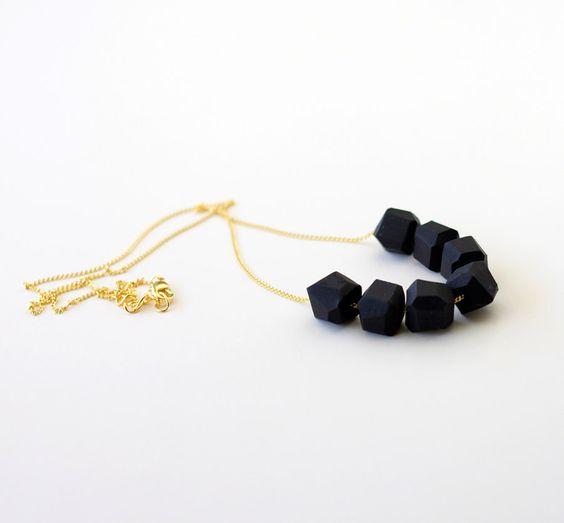 black geo beaded necklace. $30.99, via Etsy.