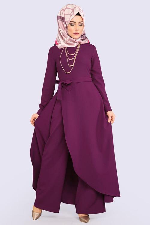 Modaselvim Tulum Yandan Yirtmacli Kolyeli Tulum 2153ms212 Sarabi Dresses High Neck Dress Fashion