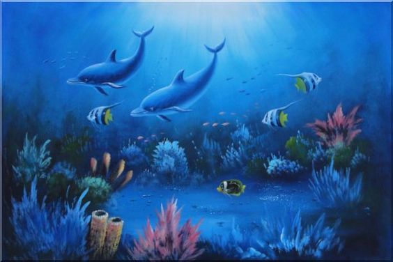 Magical Underwater Sea World Oil Painting 20 x 24 Inches ...