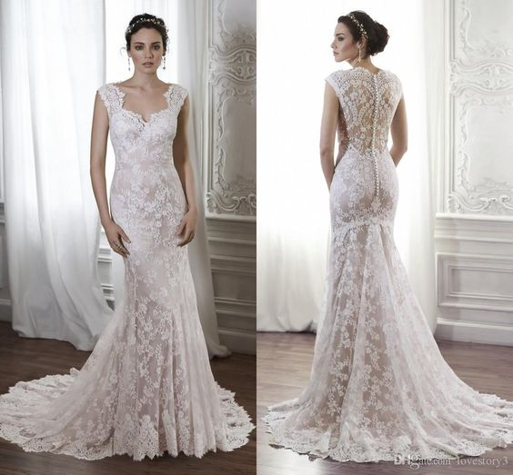 Wedding Gown Designer Top Sale 2015 Lace Garden Wedding Dresses Capped Sleeveless Covered Back Lace Sheath Dress Court Train Bridal Gowns Custom A Wedding Dress From Lovestory3, $123.72| Dhgate.Com