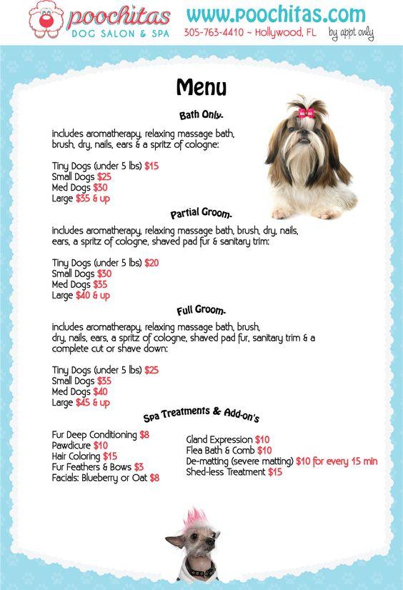 Dog Grooming Spa Menu - Personalizable Poster Grooming - dog groomer resume