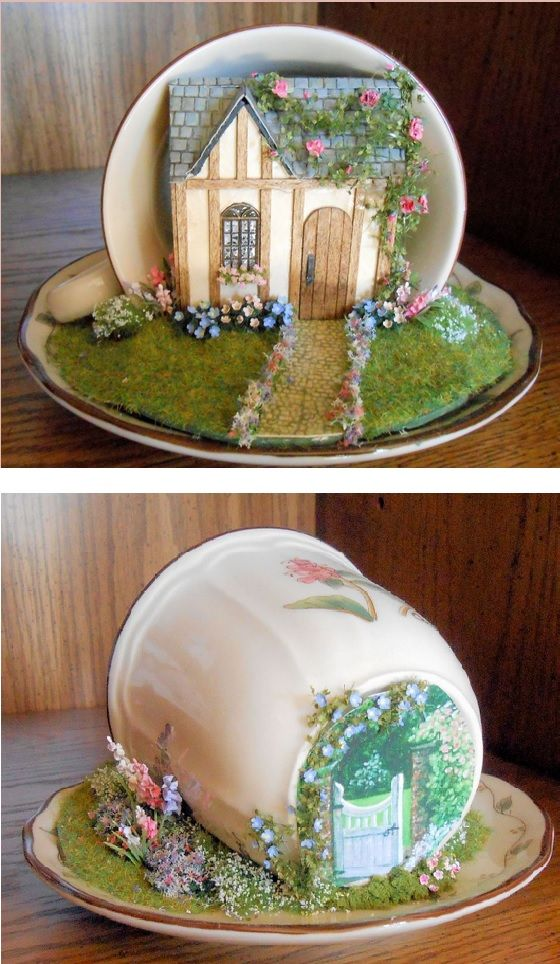 Love this - pretty cottage and garden in a teacup (front and back views). :):