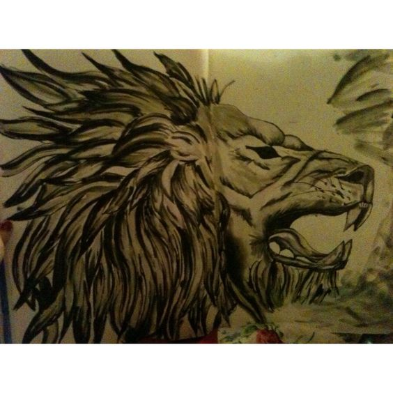 One of the ink and bleach lions I have been experimenting with, copy right of Poppy-lea Price