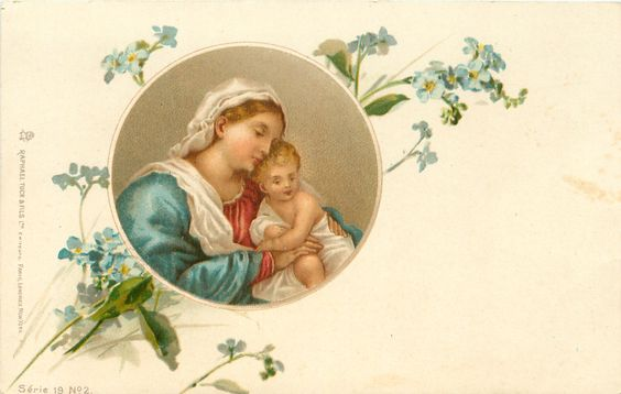 inset: Madonna left wearing blue cape over red dress, Child on her right,  blue forget-me nots