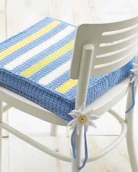Striped chair pad patterns crochet and ties for Chair cushion covers with ties