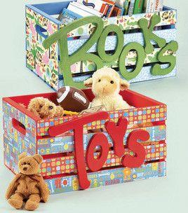 Wood crate juguetes cajas de juguetes y cajas de - Cajones guarda juguetes ...