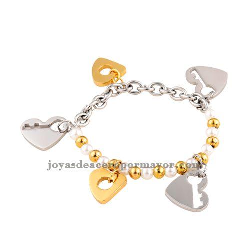 brazaletes con dijes de tres colores de joyas en acero inoxidable