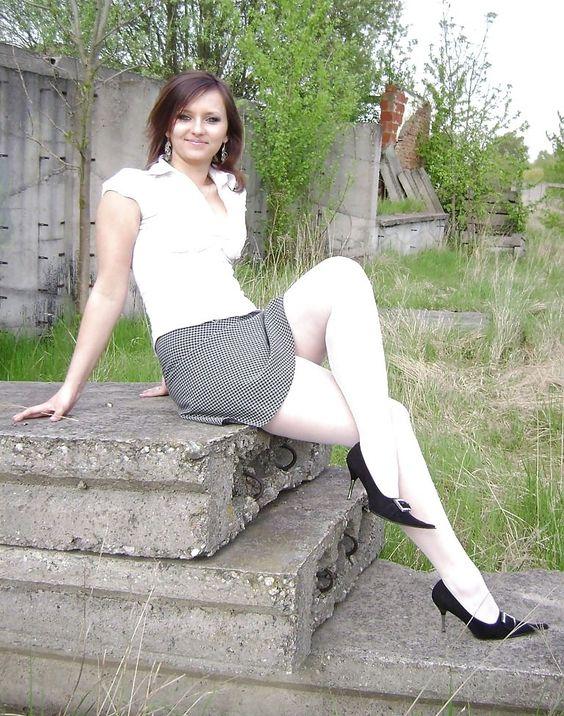white stockings, black shoes