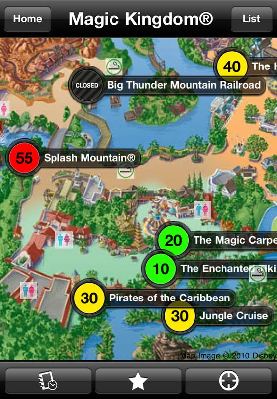Map out your route and see which rides and attractions have the longest wait times. You'll never get lost inside the parks again!