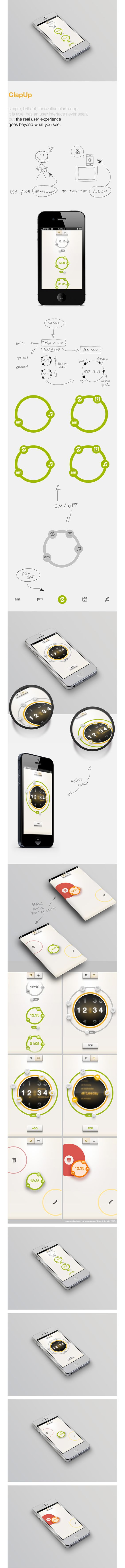 ClapUp - iOS simple and brillant alarm's App by Marco Nenzi, via Behance *** ClapUp - iOS simple and brillant allarm's App, with an incredible user experience that goes beyond what you see.