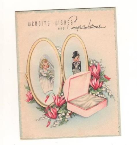Vintage Bride Groom Peeping Through Locket Wedding Wishes Greeting Card