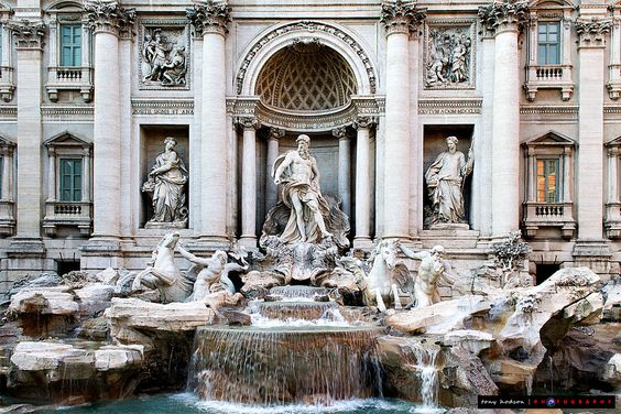 The beautiful Trevi Fountains, which featured in the film Roman Holiday with Audrey Hepburn & Gregory Peck.