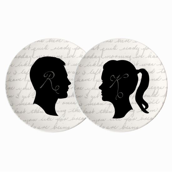 Bride + Groom Silhouette Plates - Set