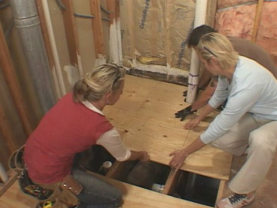 Spaces and floors on pinterest - How to replace subfloor in bathroom ...