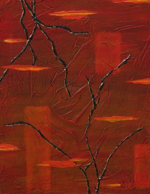 """Red Dawn - 18""""x14"""", acrylic mixed-media on canvas"""