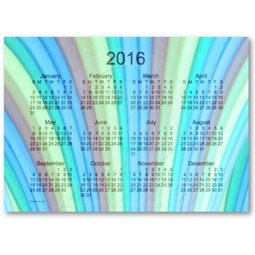 Cyan Rainbow 2016 Pocket Calendar Business Card Template by - rainbow template