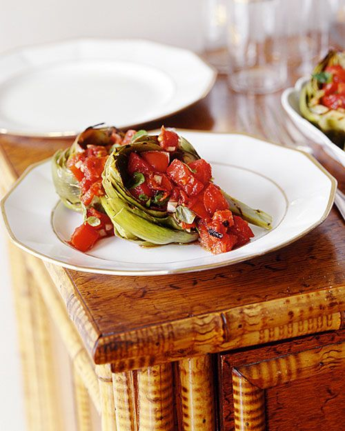 Grilled Artichokes with Raw Tomato Compote
