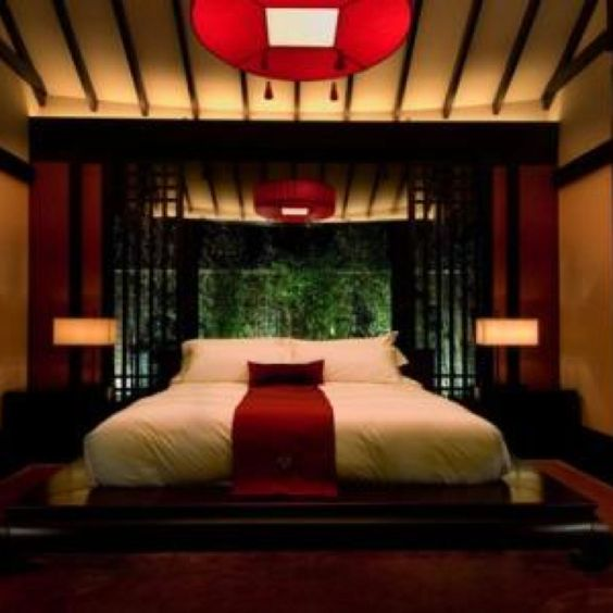 Japanese style decorating with asian colors furnishings for Asian wedding bed decoration