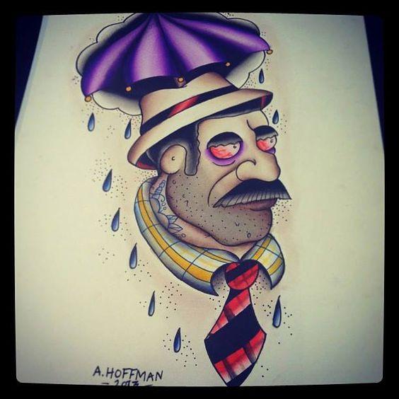 Rainy Tattoos Art: Rainy Day Dude Water Color Painting #tattoo