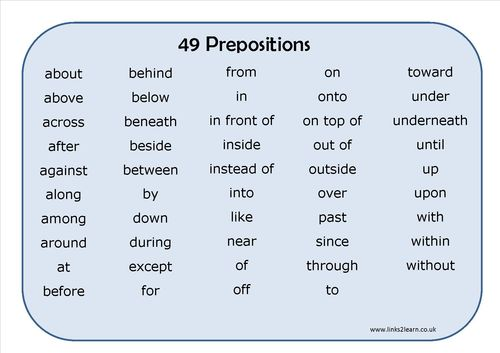 49 Prepositions learning mat