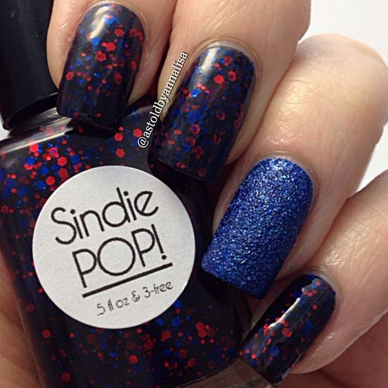 """""""this is what I did on my other hand for my nephew's #captainamerica bday party yesterday. Polishes are @sindiepopcosmetics El Corazon Testigo and…"""""""