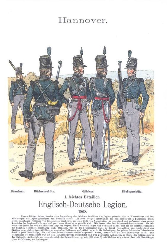 Band XIV #40.- Hannover. Englisch-Deutsche Legion. 1. leichtes Bataillon. Gemeiner. Büchsenschütz. Offiziere. Büchsenschütz. 1808.