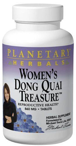 Planetary Herbals Women's Dong Quai Treasure, 860 mg, Tablets, 120 tablets (Pack of 2) by Planetary Formulas. Save 30 Off!. $32.90. Herbal supplement. Female reproductive system support. Planetary Formulas Women's Dong Quai treasure combines the ancient classic formula Dong Quai Four with three of the primary herbs used in native American traditions to support female health - cramp ba
