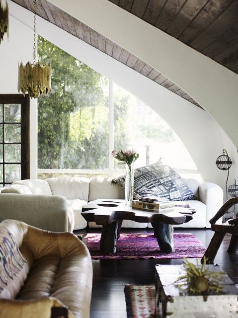 curved windows and ceiling
