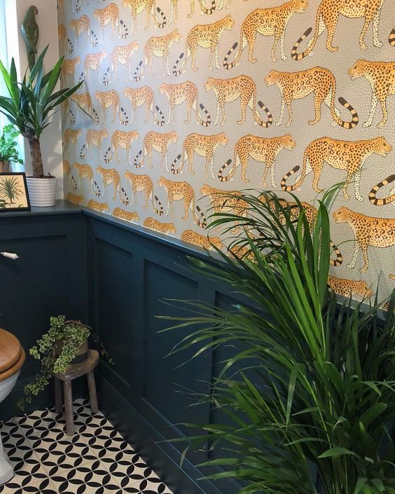 Leopard wallpaper by Cole and Son in the amazing bathroom of @_charlottesweeting_ #luxurybathroomshowrooms