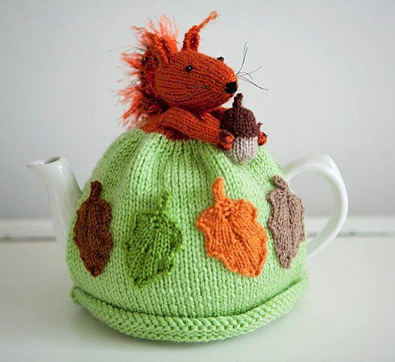 Sammy Squirrel Handknitted Tea Cosy - Sammy Squirrel is proudly clutching his acorn! #Squirrels #tea cosies #tea cosy