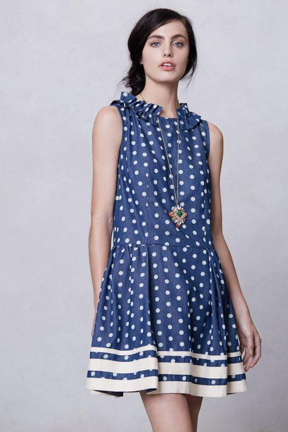 Anthropologie Striped Edge Chambray Dress | Wantering Trends – Spring 2013 | #wanteringtrends go to http://springtrends2013.wantering.com/ for more!