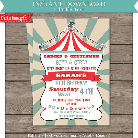 Vintage Circus Carnival Fun Fair Party Invitation - Editable Text Invitation - Instant Download - PrintMagic - $8